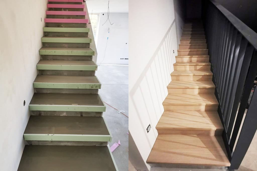 Schody, schodisko, obklad betonoveho schodiska, realizacia, montaz Slovensko, Ateliér Suchánek Bratislava Dúbravka showroom, motáž a servis Slovensko